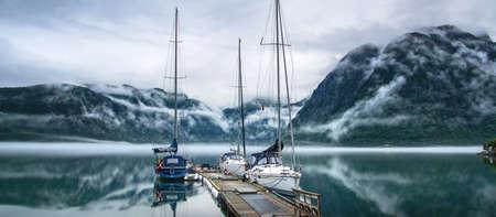 Yachts at the berth. Morning. Norway. Panorama
