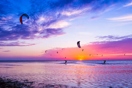 Kite-surfing against a beautiful sunset. Many silhouettes of kites in the sky. Holidays on nature. Artistic picture. Beauty world. Фото со стока