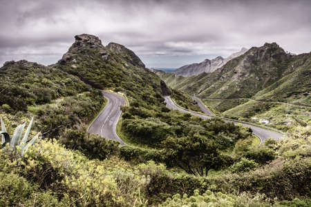 Mountain serpentine. The road is mountainous. The way from Anaga to Santa Cruz de Tenerife. Stunning top view. Anaga, Tenerife, Canary Islands, Spain.
