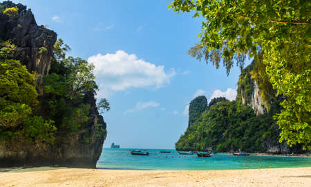 Amazing view of beautiful lagoon with blue sky in sunny day in Koh Hong island. Location: Koh Hong island, Krabi, Thailand, Andaman Sea. Artistic picture. Beauty world