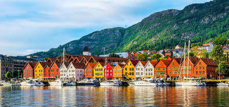 Bergen, Norway. View of historical buildings in Bryggen- Hanseatic wharf in Bergen, Norway. Stok Fotoğraf