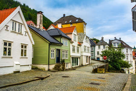 BERGEN, NORWAY - JULY 8, 2016: Traditional houses in the old town of Bergen, Norway on July 8 2016. Bergen is the second largest city in Norway.