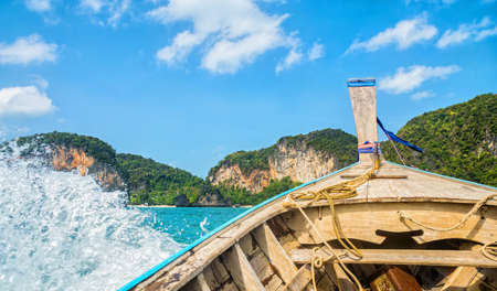 Amazing view of Koh Hong island from traditional thai longtale boat. Location: Koh Hong island, Krabi, Thailand, Andaman Sea. Artistic picture. Beauty world.
