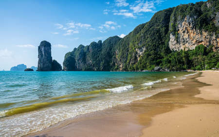 Amazing view of beautiful beach. Location: Krabi province, Thailand, Andaman Sea. Artistic picture. Beauty world.