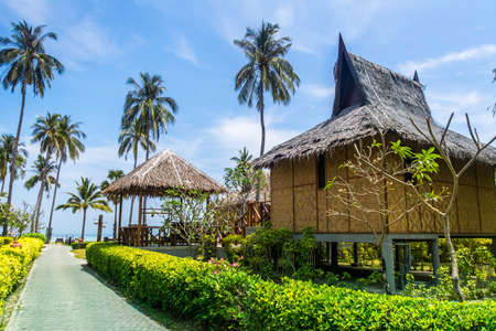 Traditional beach bungalows and coconut palms on Koh Phi Phi island, Thailand Фото со стока