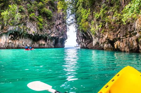 Amazing view of lagoon in Koh Hong island from kayak. Location: Koh Hong island, Krabi, Thailand, Andaman Sea. Artistic picture. Beauty world. 스톡 콘텐츠