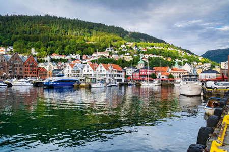 Bergen, Norway. View of historical buildings in Bryggen- Hanseatic wharf in Bergen, Norway. Artistic picture. Beauty world.