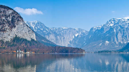 View of the lake Hallstater See with white swan, Austria