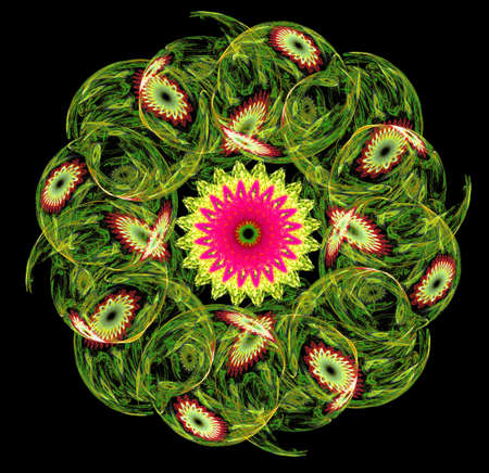 interweaving: Abstract fractal circle of flowers, computer-generated image