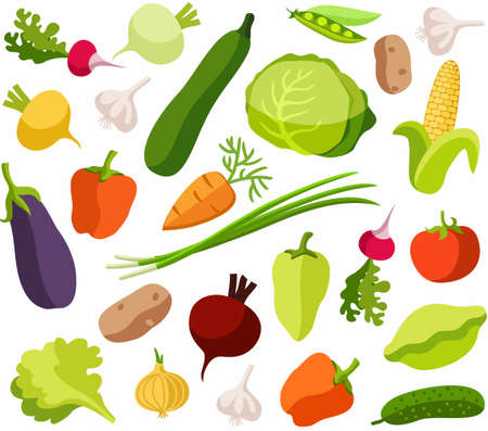 Background vegetables, white, color, seamless. Illustration