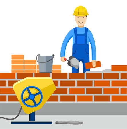 bricklayer: Bricklayer, Builder, profession, the construction of buildings.Worker works in construction, builds a building, lays brick. Colored, flat illustration, picture.