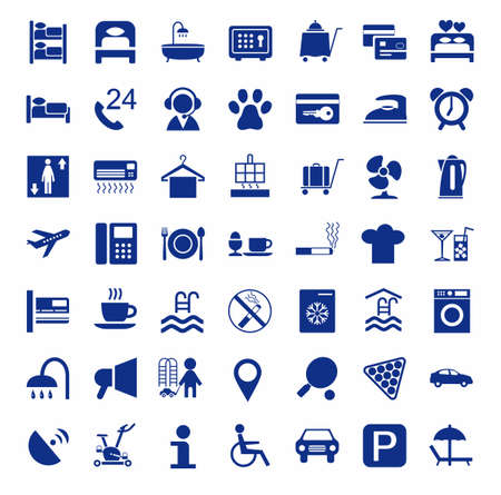 Hotel, hotel services, single-color icons.