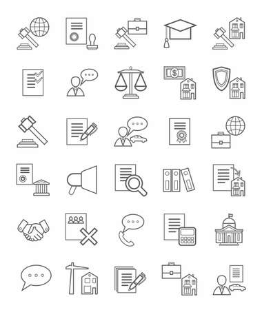 licensing: Legal icons, linear, monotone. Vector icons of legal services. Monotone, linear, flat icons on white background.