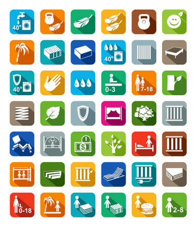 bunk bed: Mattresses, beds, mattress covers, colored icons with shadow. Vector icons with images of types of beds and mattresses. White image on a colored background with a shadow. Illustration