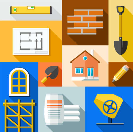 housing project: Building, construction, illustration. Color flat illustration on the theme of construction of buildings. Vector picture.