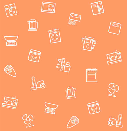 appliances: Appliances, seamless pattern, coral. Vector seamless pattern with icons of household appliances and electrical appliances. Illustration