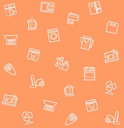 air cleaner: Electrodomésticos, patrón transparente, de coral. vector sin patrón con los iconos de los electrodomésticos y aparatos eléctricos. Vectores