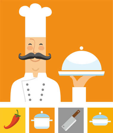 Chef, orange and colored flat icons. A coloured flat image of the chef and the four colored icons with the attributes of the restaurant and kitchen.