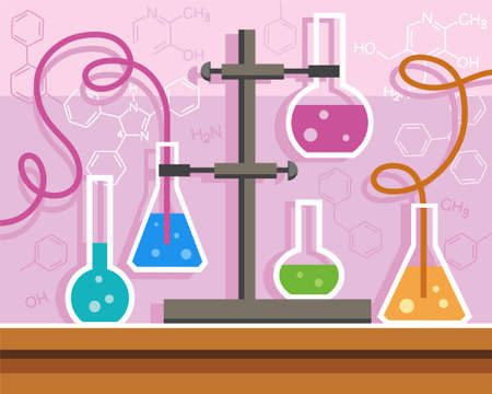 reagents: Chemical experience, flat color illustration with formulas. Color flat illustration with chemical flasks. In flasks filled with chemicals, is a chemical reaction. On a pink background drawn chemical formula. Illustration