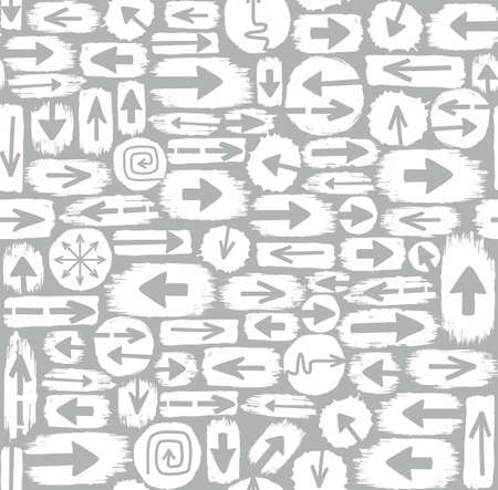 tearing down: Arrows seamless pattern, white and grey. Vector gray background with white spots are gray arrows. Monochrome, flat, for decorating. Illustration