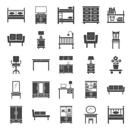 console table: Furniture, icons, monochrome. Vector icons of modern furniture for home and office. A dark gray image on a white background. Illustration