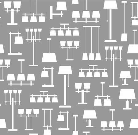standing lamp: Lamps ceiling, table, floor, background, seamless, gray, monochrome. Vector background with images of various types of lamps. White, flat image on a gray background.