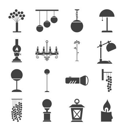 lighting fixtures: Lamps for home and garden, icons, monochrome. Vector icons with images of lighting fixtures. Dark-grey figures on a white background.