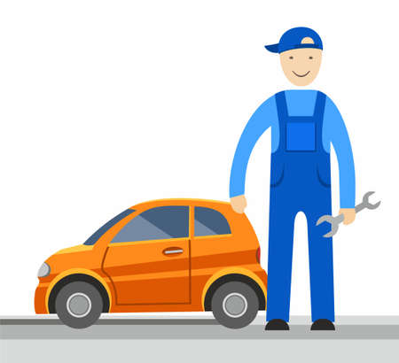 Mechanic, vector picture. Auto mechanic holding a tool, he will repair the car. There is a coloured flat image on a white background.