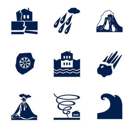 avalanche: Natural disasters, monochrome icons. Vector icons of natural disasters and cataclysms. Dark blue image on a white background. Illustration