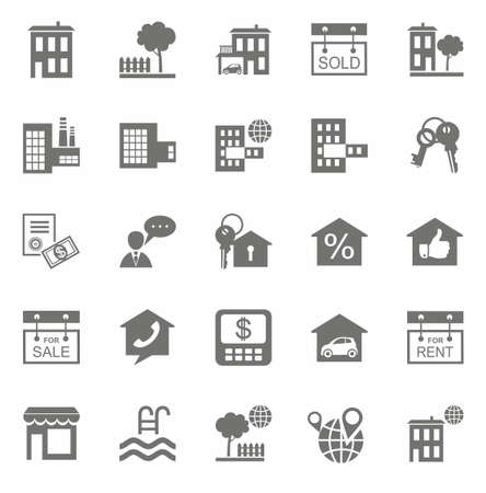foreign land: Real estate, monochrome icons. Vector flat icons set real estate on a white background. Illustration