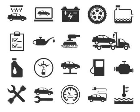Repair and maintenance of vehicles, single-color icons.Vector flat icons for auto repair shop services. A dark gray image on a white background.