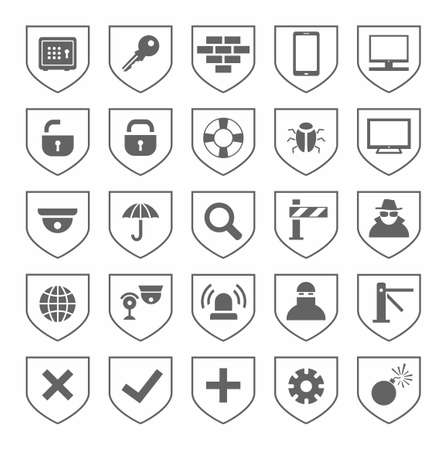 intruder: Security, icons, monochrome, vector. Grey, flat icons on the theme of protection and safety of people and computers. Grey images on a white background.