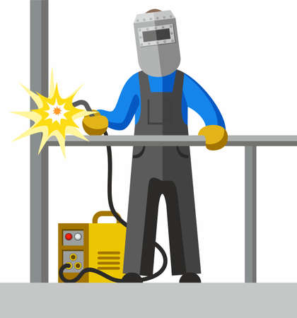 welds: Welder, full-colour picture. The welder welds the pipe. Vector picture. Color flat illustration on white background. Illustration