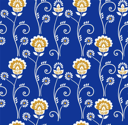 Floral Pattern Seamless Golden Flowers On A Blue BackgroundThe White And Gold