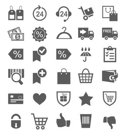 Icons, buy, online store, discounts, protection, payment, delivery, monochrome. Online store, monochrome icons, white background.