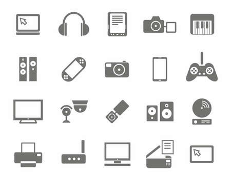Icons, photo & video equipment, audio equipment, monochrome, white background.Icons photo and video equipment, computers, and home entertainment electronics. Gray icons set on white background.