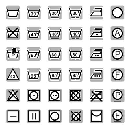 ironing: Icons, washing, bleaching, drying, Ironing, dry cleaning. Gray-black sleek icons with symbols of washing, cleaning, drying and Ironing of the textile. For printing and websites. Illustration