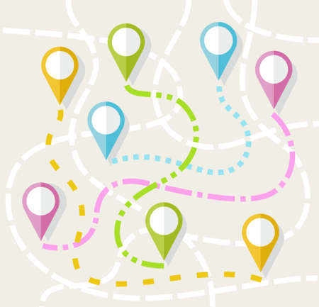 reference point: Map, route, direction, path, navigation, color, flat. On a map drawn routes between different icons. Colored illustration.