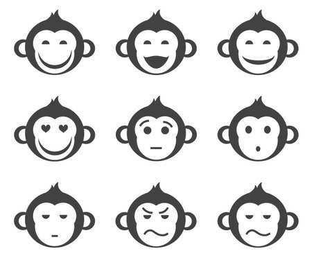 smileys: Monkeys, smiley, small, icon, monochrome. Monochrome, simple, concise, smileys, icons, monkeys. Different emotions. Illustration
