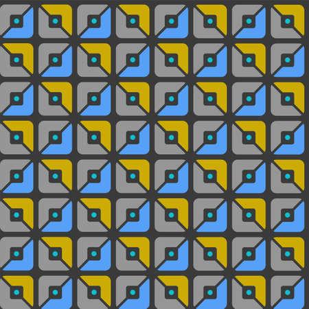 halved: Seamless pattern, geometric, squares, blue, yellow, grey halves, background. Geometric, seamless pattern, blue, grey and yellow halves of squares. For print and textile prints.
