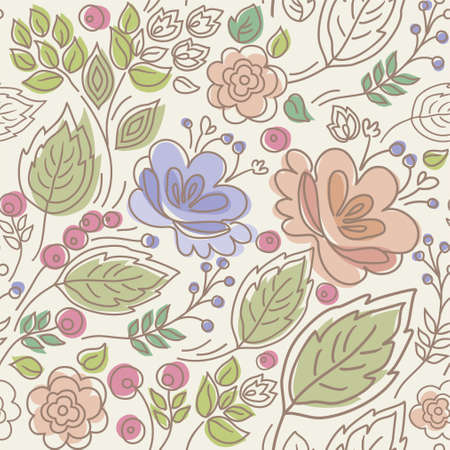 twigs: Seamless, floral pattern, color, leaves, berries, twigs, and flowers.Seamless color pattern with flowers, twigs, leaves and berries on a beige background. For printing, textile prints and decorating.