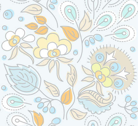 invented: Seamless, floral pattern, yellow flowers, blue berries, blue background.Seamless floral pattern with yellow flowers, blue berries, blue and orange leaves on a light blue background. Natural, fictional, floral background with soft winter. For printing on p