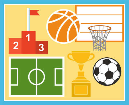 physical education: Sport, physical education, football, basketball, Cup, prize. Colored, flat vector illustration with the image of a soccer ball, soccer field, basketball ball, basketball basket, Cup and pedestal.