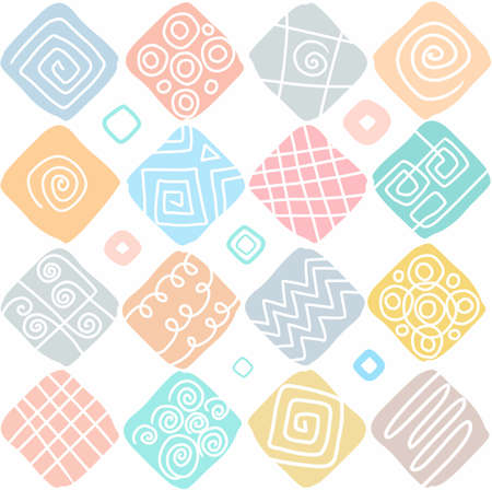 patties: Squares, pattern, seamless background, white, color. Colored, ornamental squares in the form of peppermint patties on a white background. Illustration