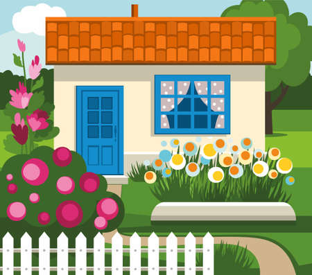 garden path: Summer house, garden, flowers, lawn. Color flat illustration with summer house, flower bed, flowers, flowering shrubs, lawn and path. At the house the blue door and tiled roof. Summer landscape.