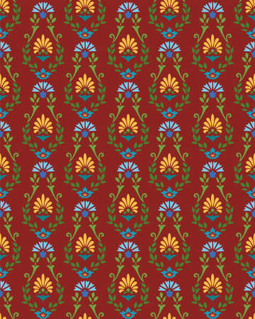 cornflowers: The Burgundy pattern with cornflowers and yellow flowers. The maroon background of green branches, blue cornflowers and blue flowers. For printing and textile prints.