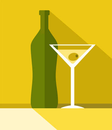 The drink in the glass, bottle, colour illustrations. Yellow, Sunny, flat illustration with a green bottle and a glass of wine. In the glass floats olive.
