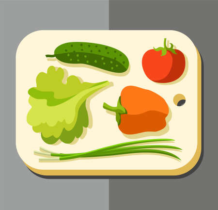 vegetarianism: Vegetables for salad, coloured picture. Vector illustration with lying on a chopping Board vegetables for the salad. Vegetarianism, healthy food. Illustration
