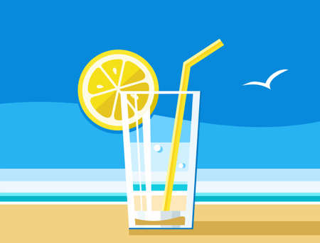 refreshing: Water with lemon, a refreshing drink, sea, summer, colour illustrations. A glass of water, lemon and straw. A refreshing drink in the summer heat. Beach, blue sky. Shore of the ocean, yellow sand. Colored illustration. Illustration