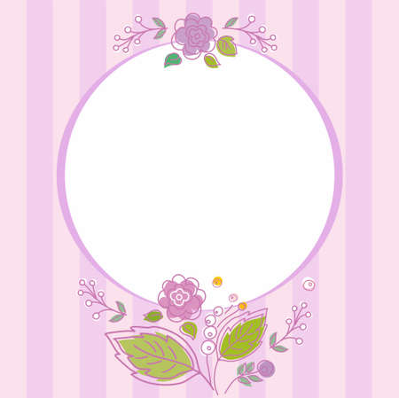 garnished: Postcard, frame, lilac, striped with flowers. Lilac, striped card, frame with white circle for the text. Garnished with flowers, twigs and berries. For printing on paper, cardboard, fabrics and decorating.
